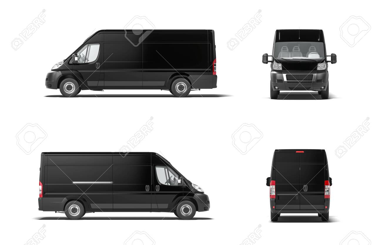 Modern black delivery truck van on white background. 3d rendering. Side view. - 134446212