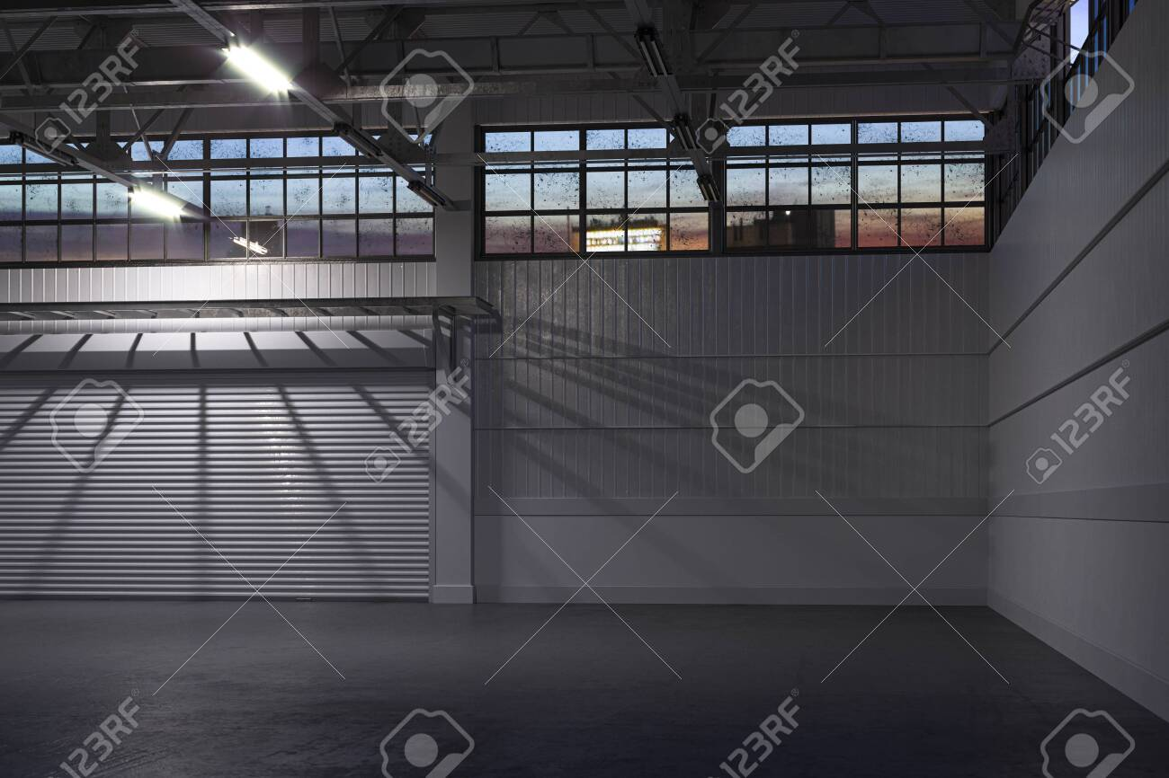 Night Time At White Empty Hangar Interior or Empty Warehouse With Roller Shutter Door and Concrete Floor. 3d rendering - 136401185