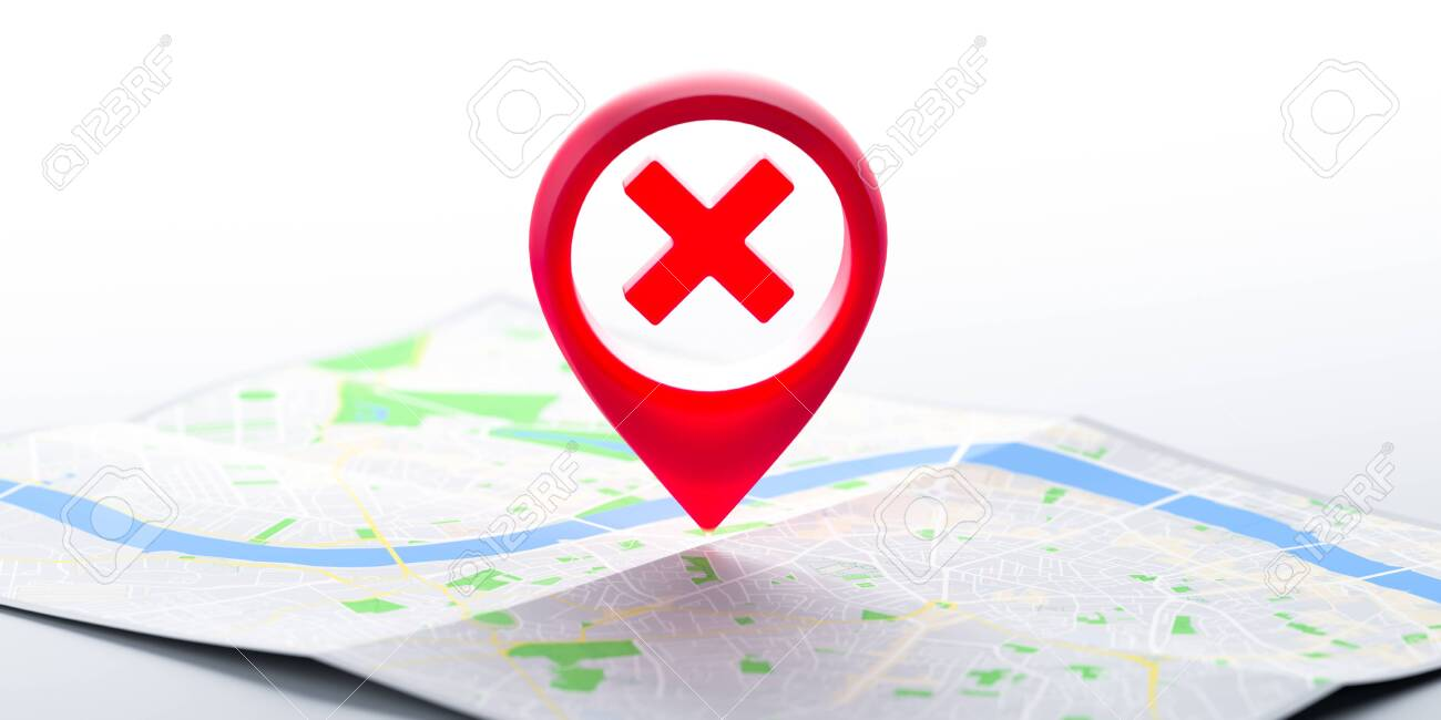 Red Glossy Map Geo Tag Pin With Prohibition Sign on Map. Stay Home Warning Sign. Quarantine. Social Distancing. Self Isolation. Lockdown. Restriction To Go In Public Places. 3d rendering. - 145021316