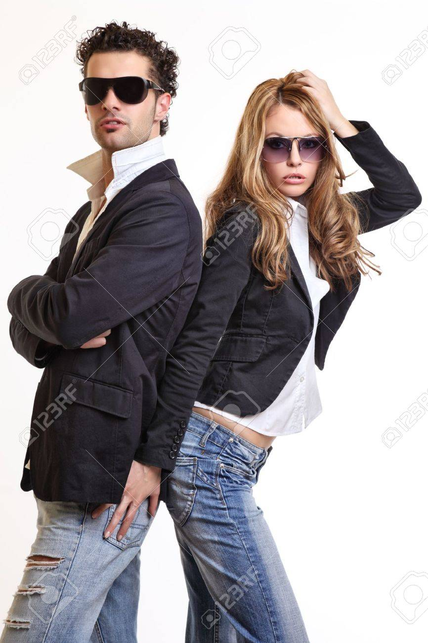 young sexy couple posing in studio Stock Photo - 10933255