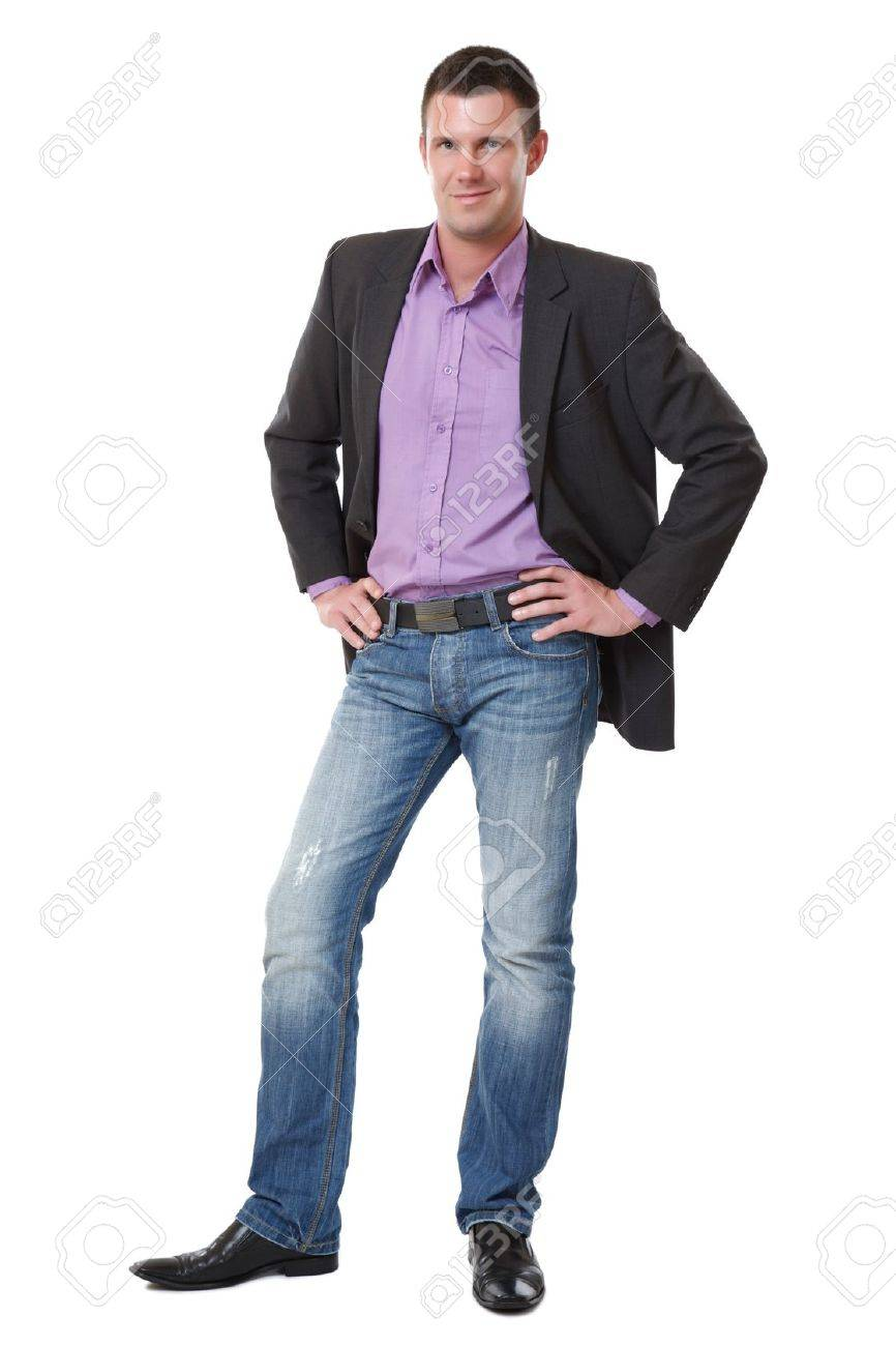 handsome young elegant man standing on white background Stock Photo - 10933361