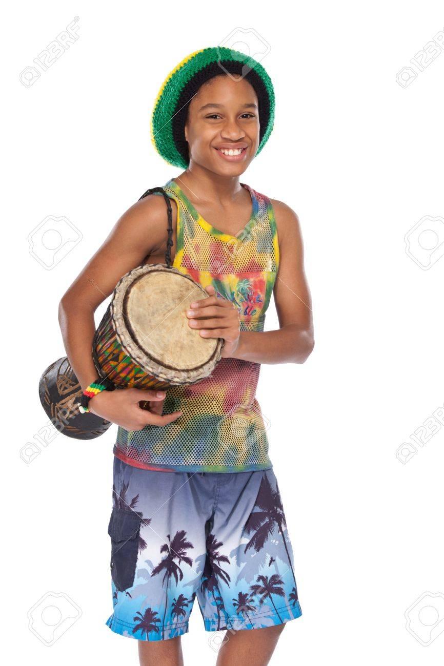 young rasta man with conga in studio Stock Photo - 11453502