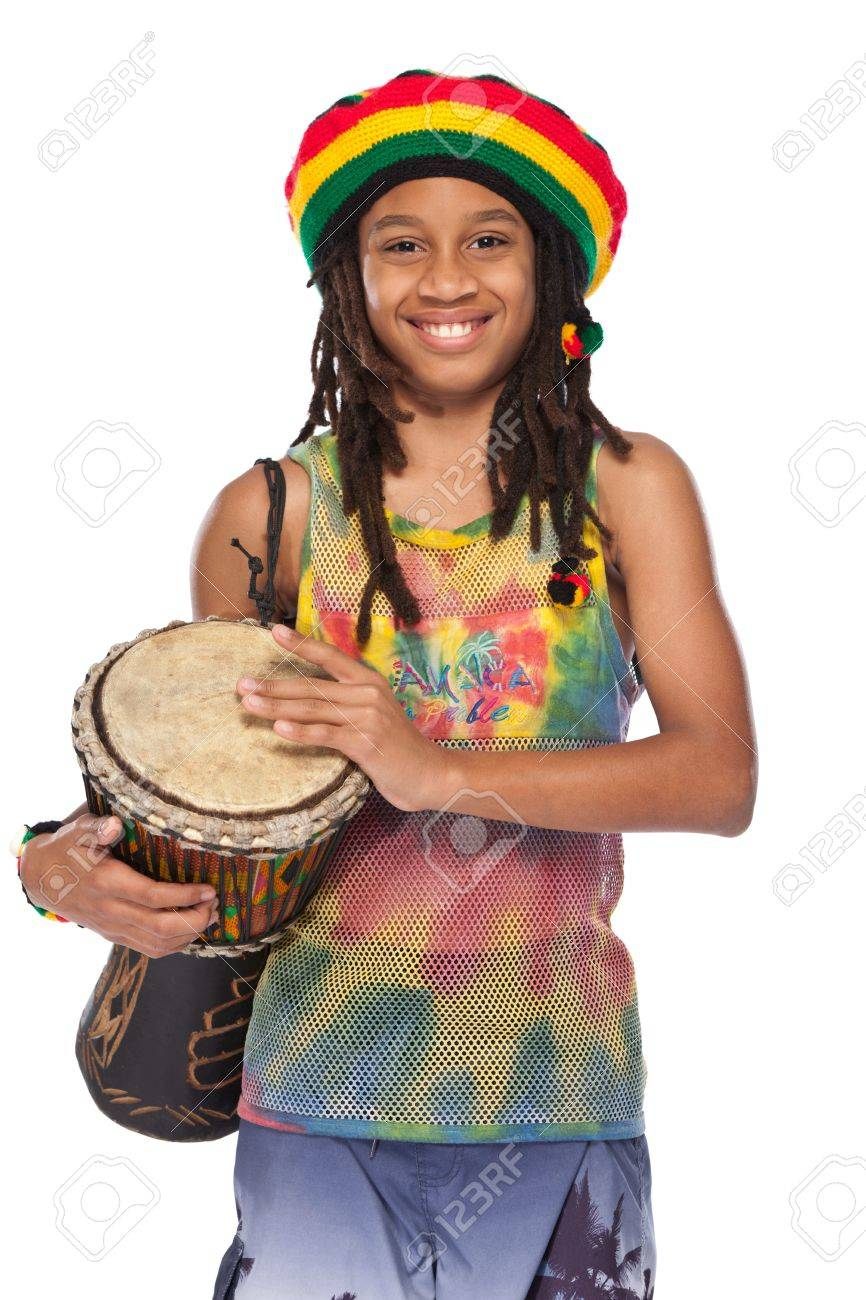 young rasta with his conga in studio Stock Photo - 11453487