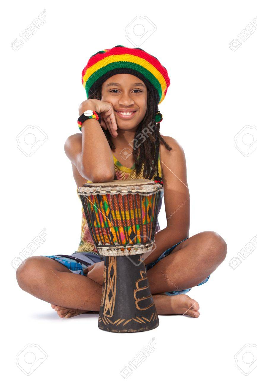 young afro rasta man with his conga Stock Photo - 11453536