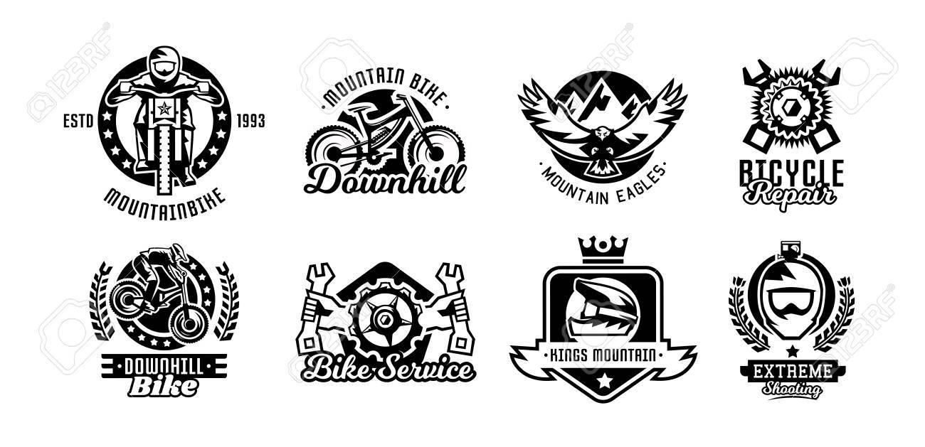 Set of logos mountain bike bicycle racer eagle repair service