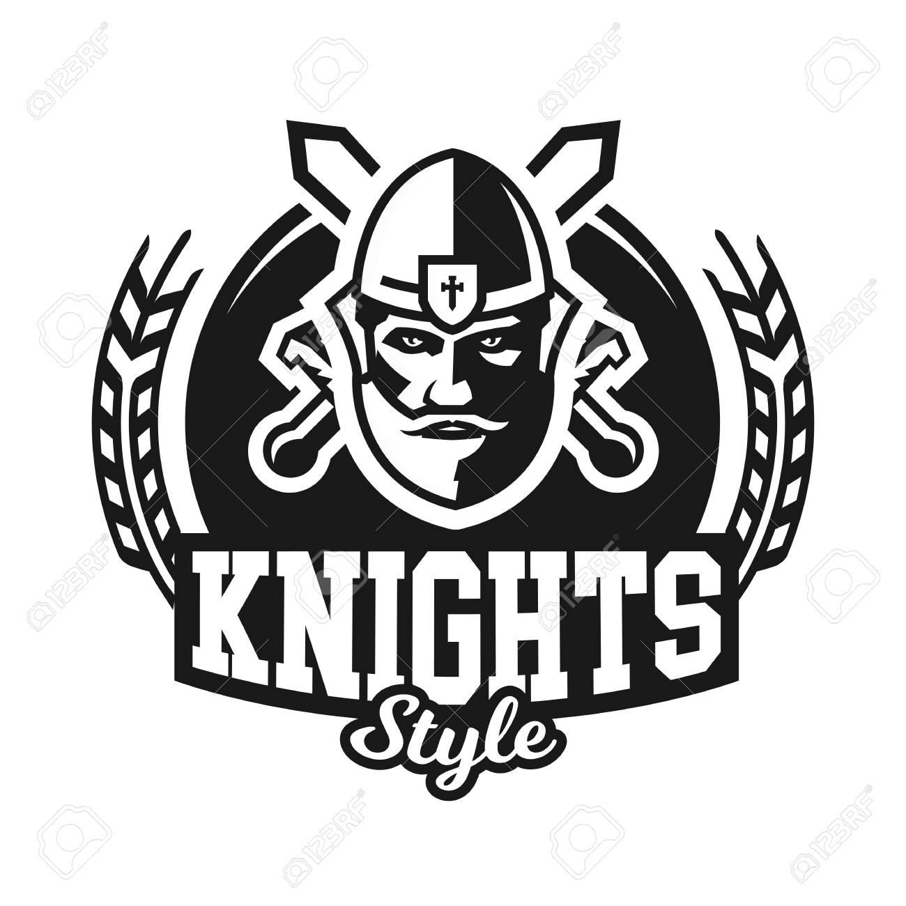 Monochrome Logo Emblem Knight In Helmet Against The Background