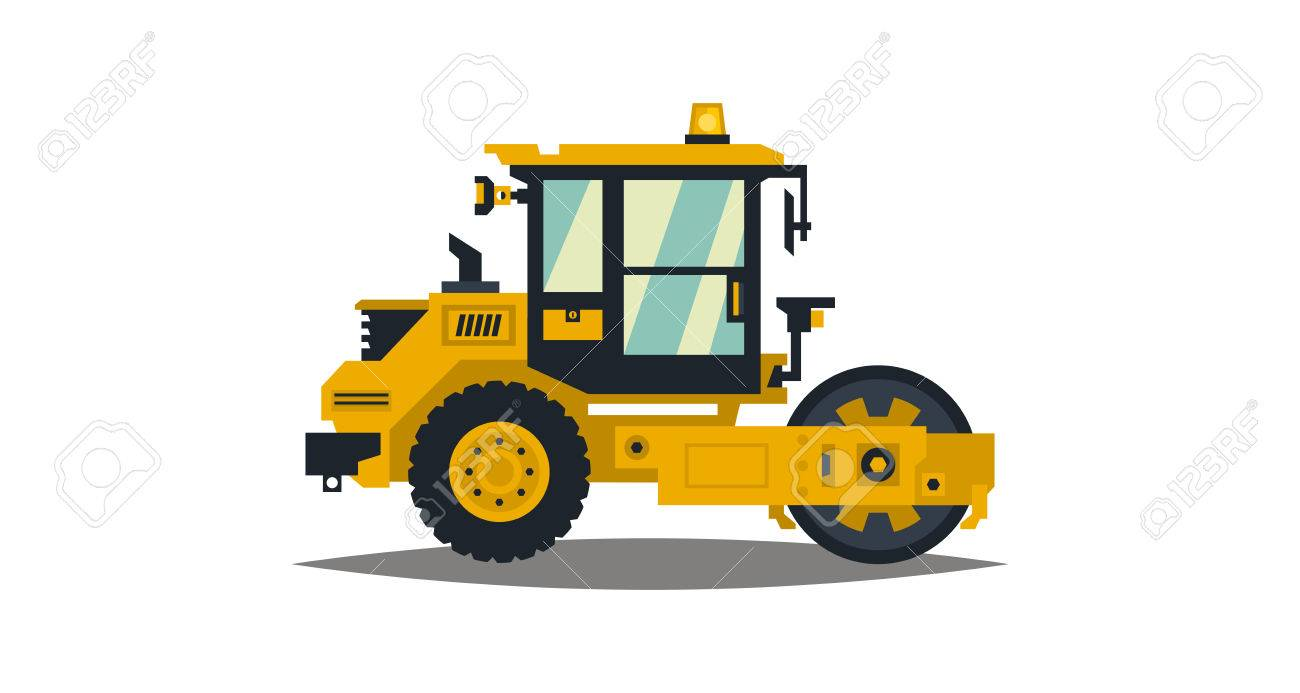 vector yellow asphalt compactor isolated on white background construction machinery special equipment road repair vector illustration flat style