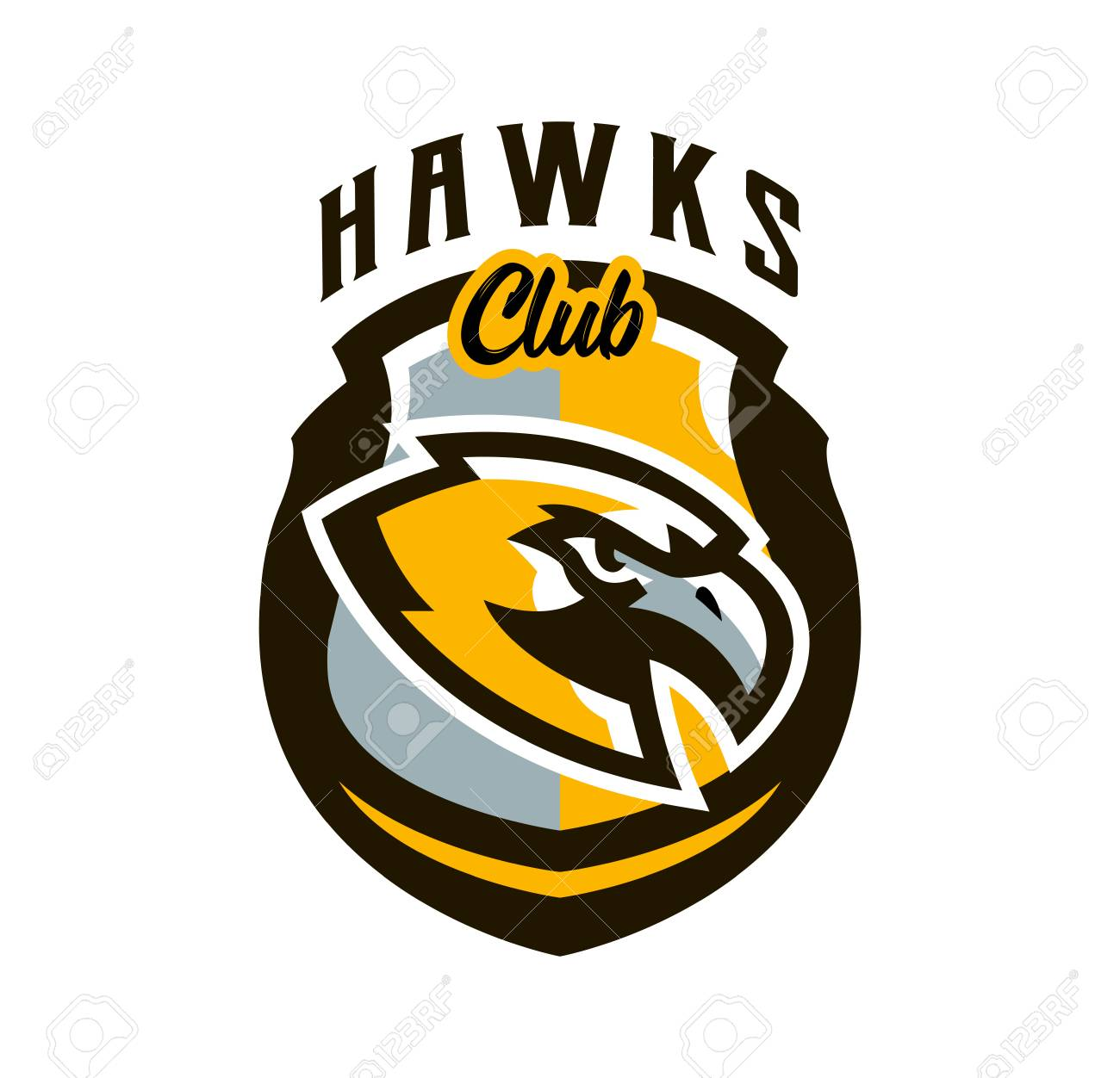 Colorful logo sticker emblem of a hawk flying bird hunter predator