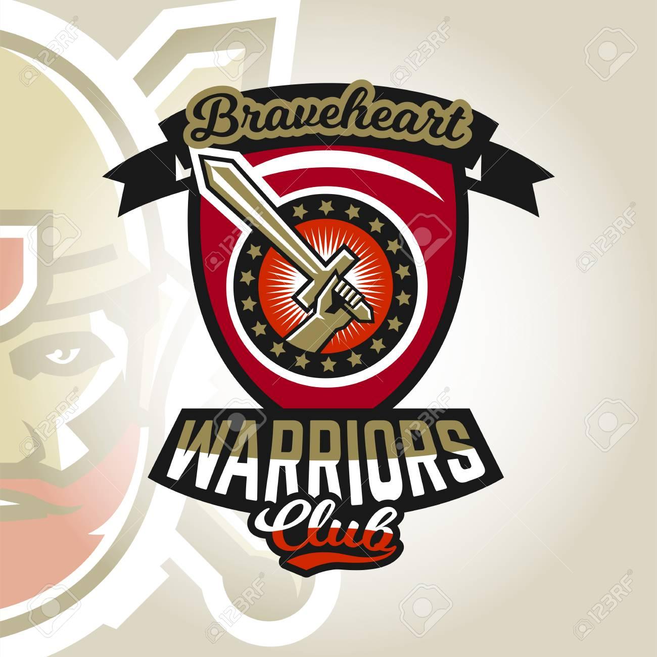 Colourful emblem, logo, sticker, hand holding a sword, warriors
