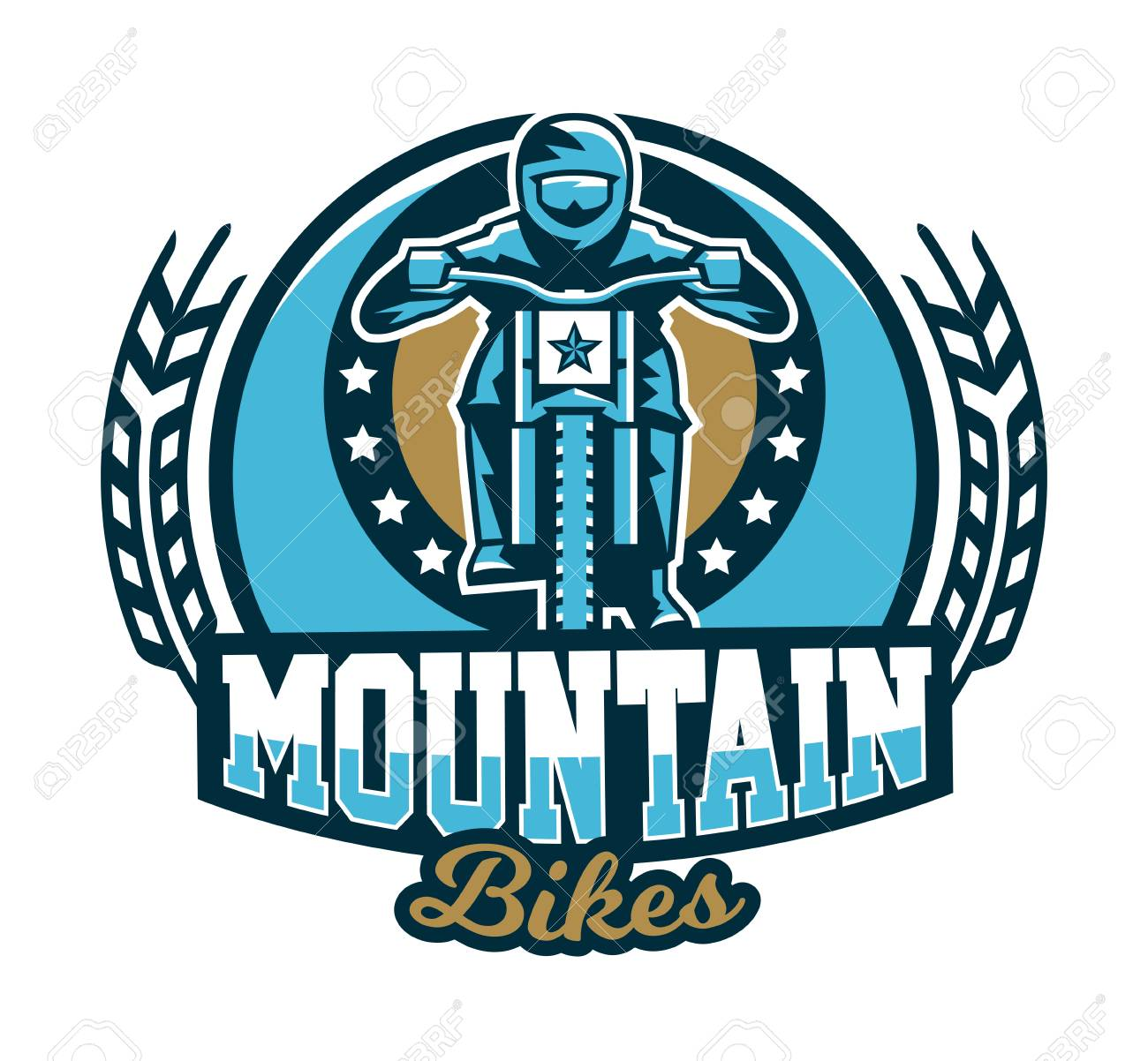 icon emblem of the rider riding a mountain bike downhill free