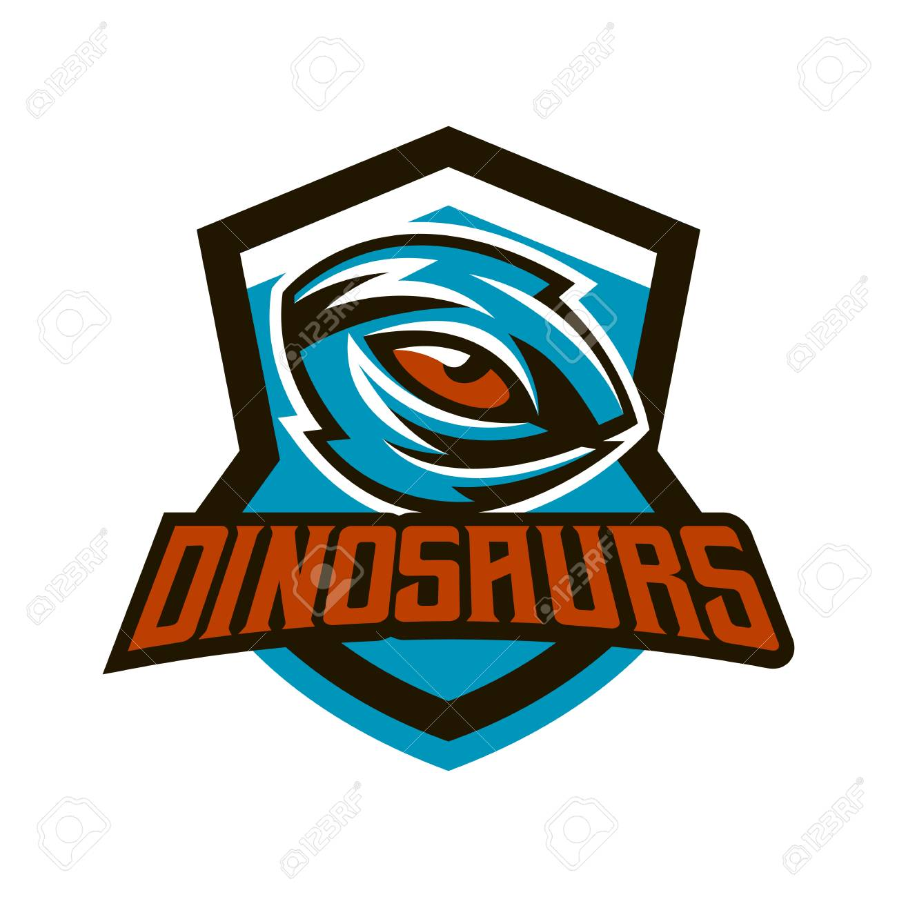Emblem badge sticker logo of the dinosaur eyes a look of a