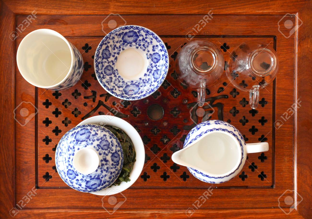 Chinese Tea Table With Tea. Cup And Saucer Gaiwan. Photo Close Up Top