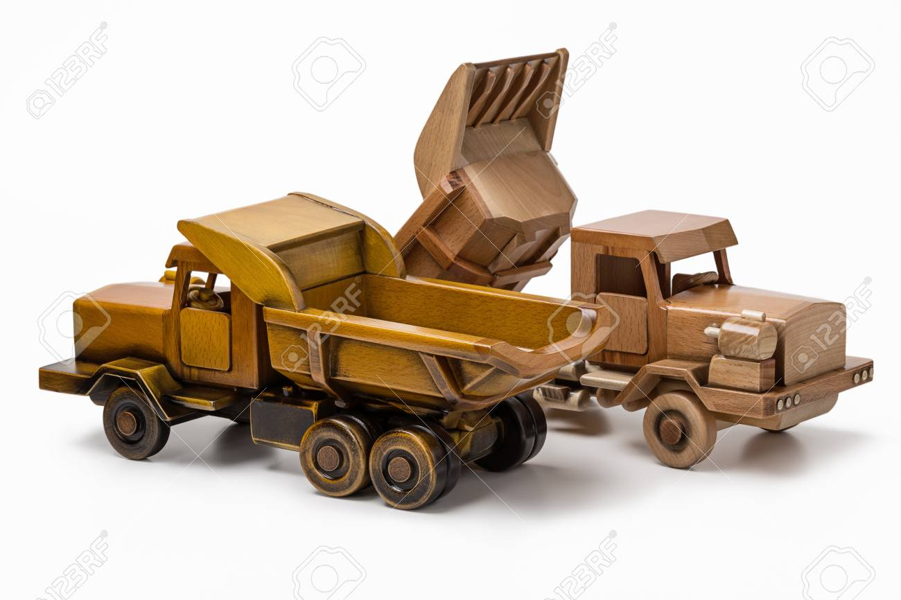 automobile wooden model toy two trucks stock photo picture and