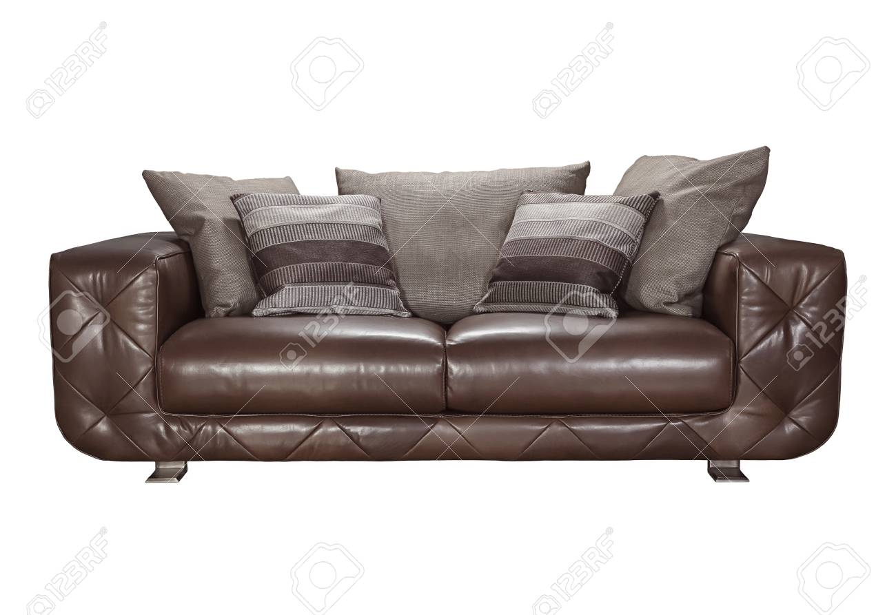 Terrific Cozy Brown Leather Sofa With Pillows Isolated On White Background Ibusinesslaw Wood Chair Design Ideas Ibusinesslaworg