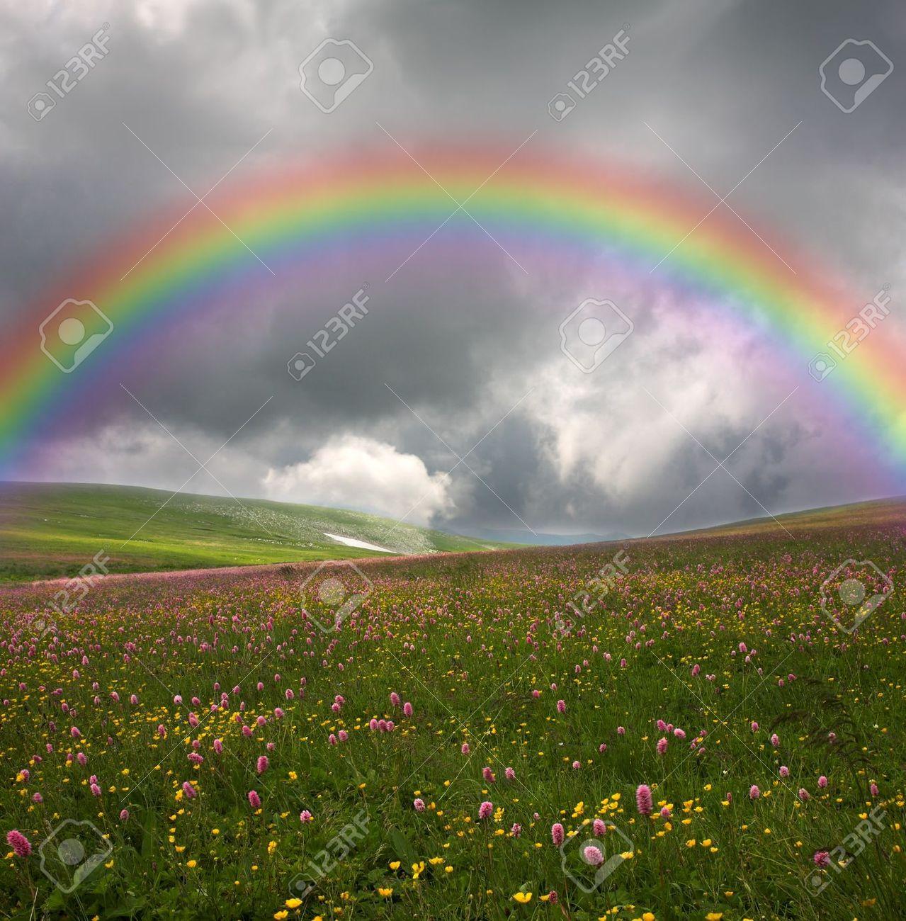 rainbow on dark sky background Stock Photo - 8207773