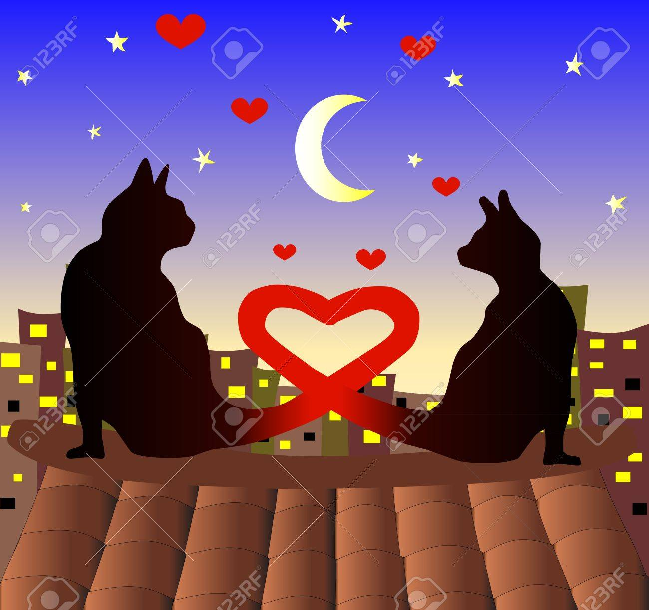 Couple of cats watching eatch other. Love cats. Valentines day. Stock Vector - 11956949