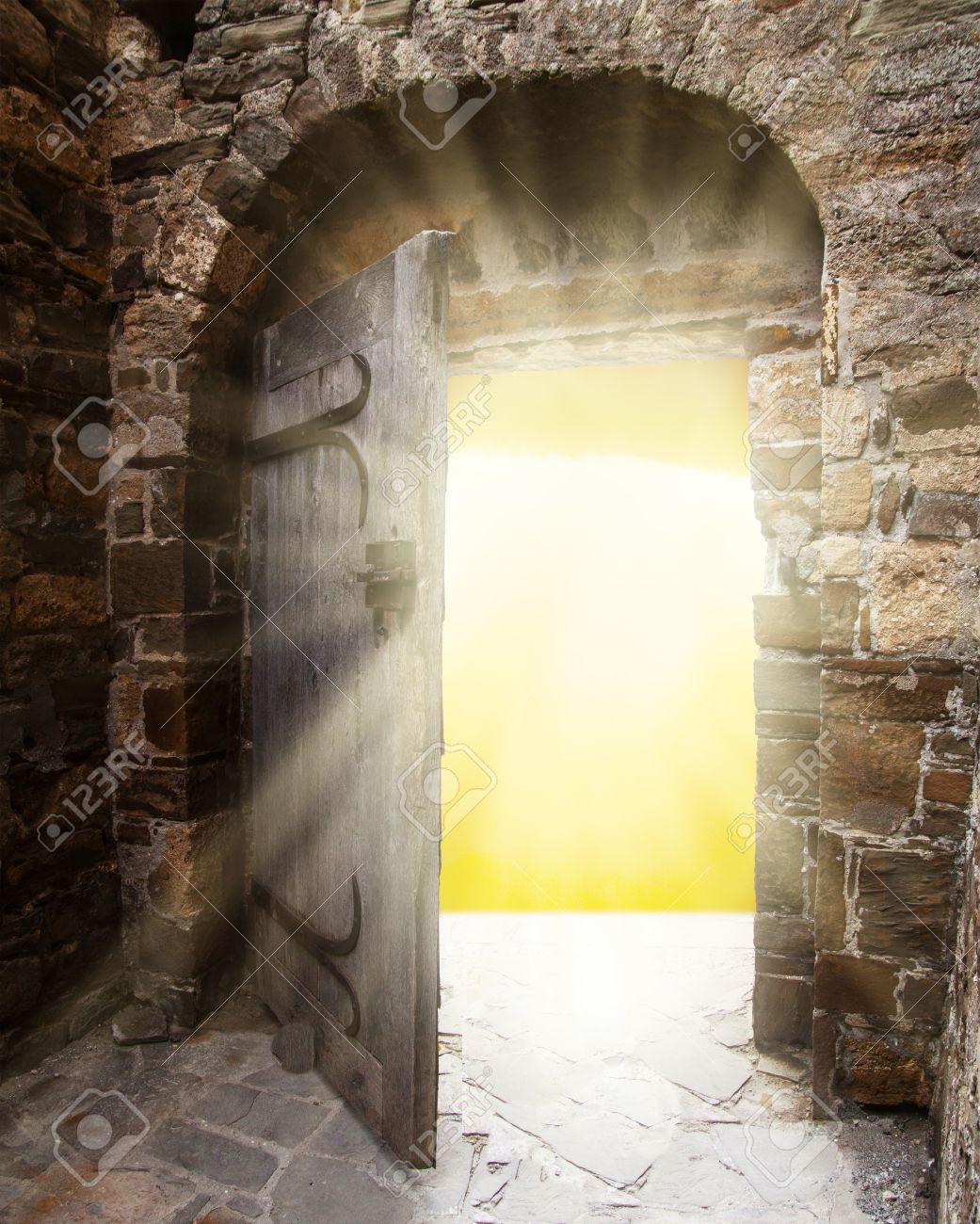 Old doors opening to show a bright light in the darkness Stock Photo - 26574026 & Old Doors Opening To Show A Bright Light In The Darkness Stock Photo ...