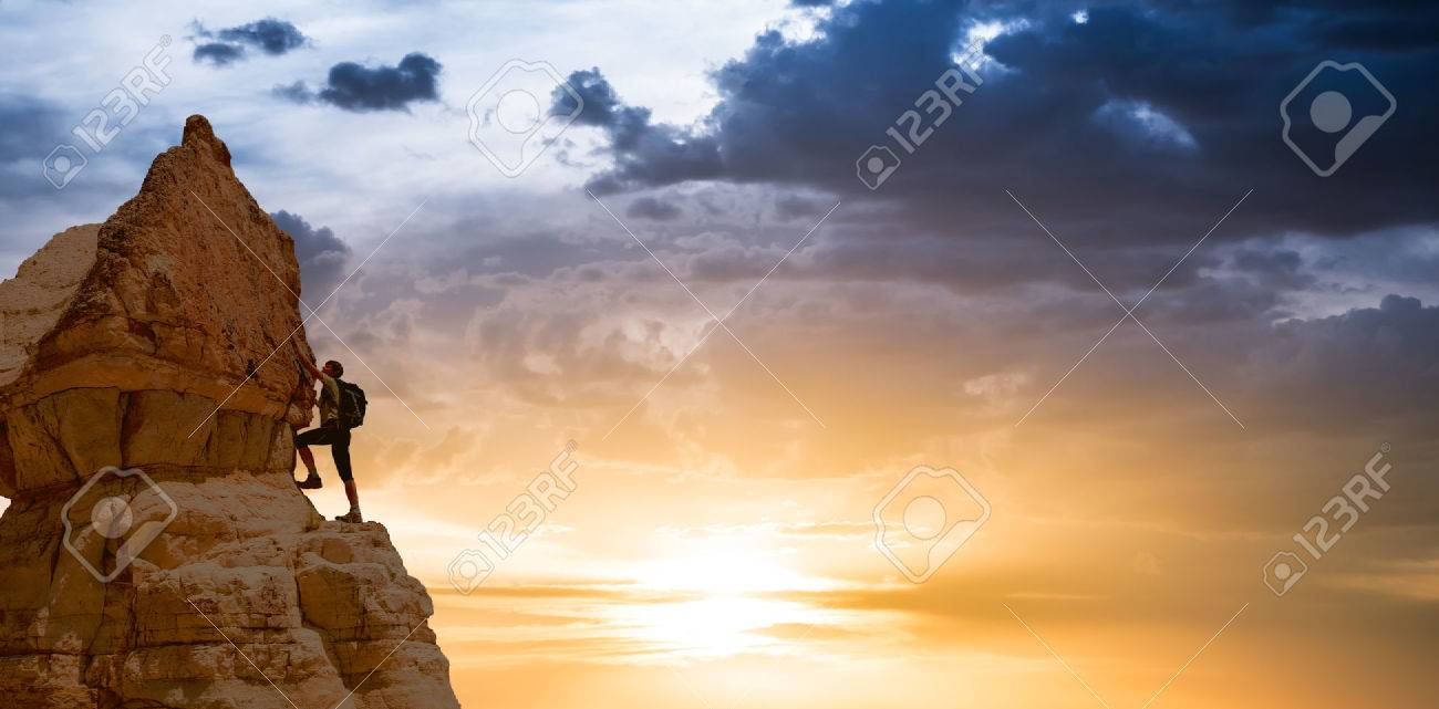 silhouette of successful climbing woman in mountains Concept of concept of motion motivation inspiration at beautiful sunset - 59695300