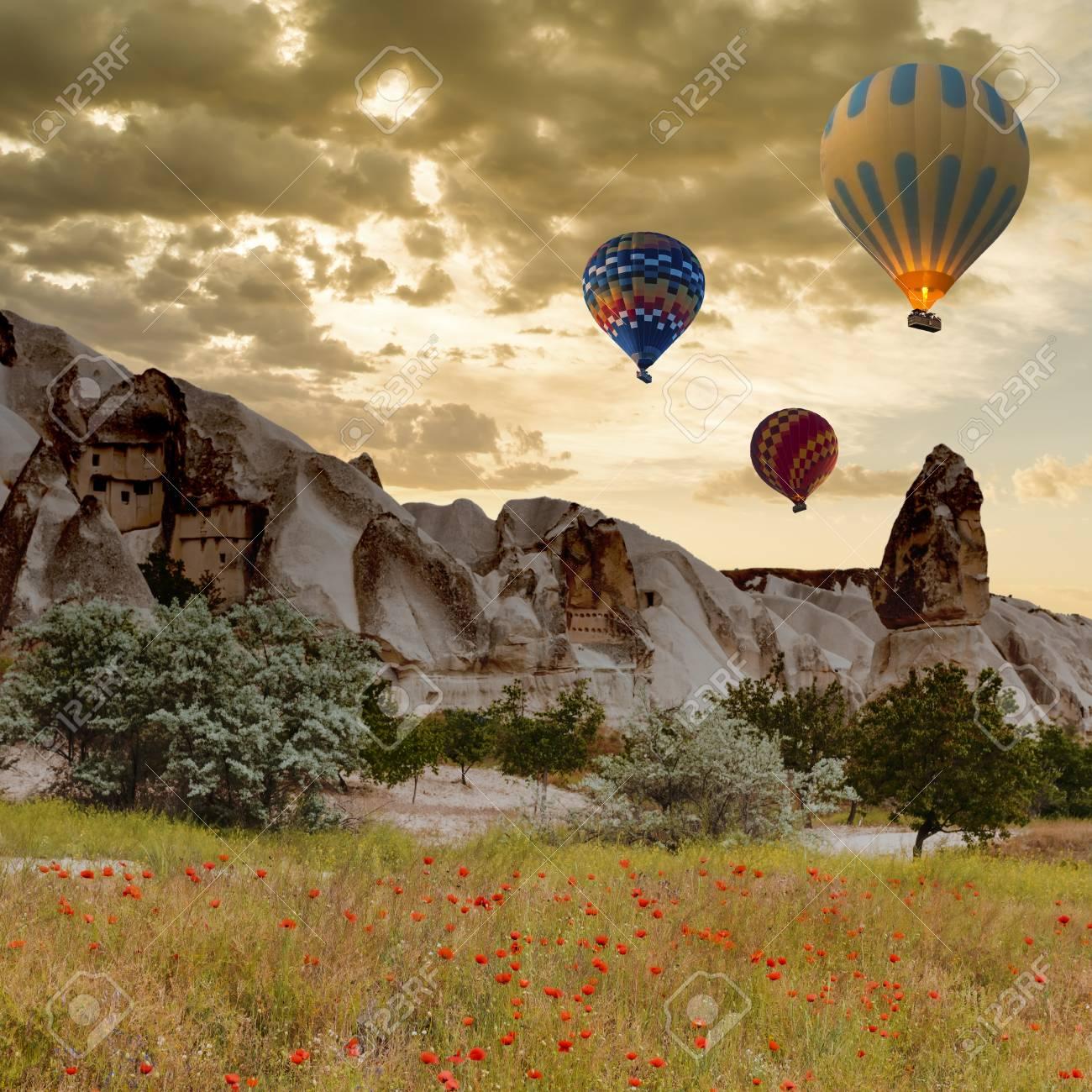 Hot air balloon trip flying over landscape at Cappadocia - 66521615