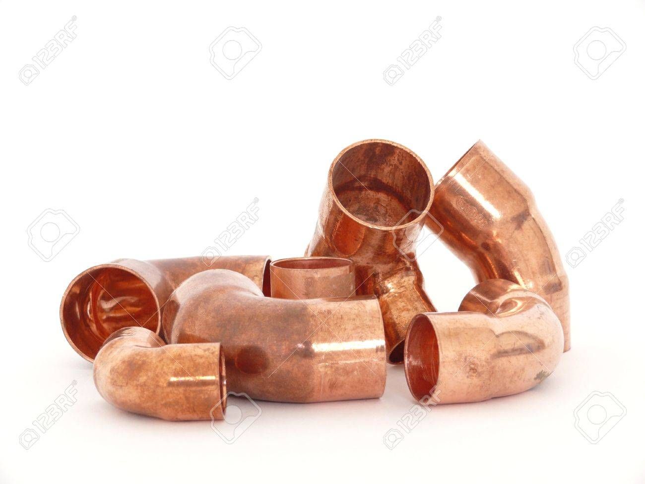 Copper brass plumbing fittings isolated on white Stock Photo - 6674282