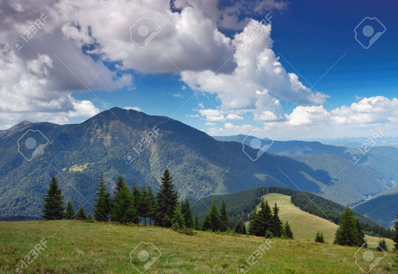 The end of summer. The picture is made in mountains Carpathians, Ukraine. Ahead mountain Petrosul, the Marmarossky file, on border with Romania. Stock Photo - 6512048