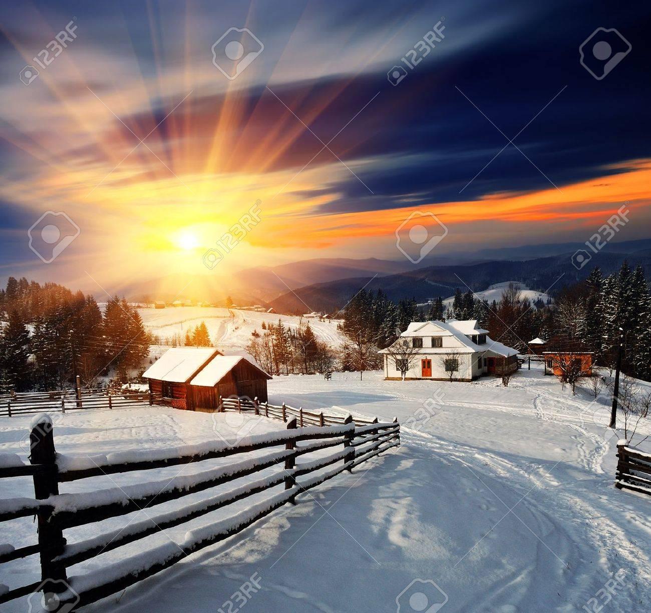 Winter landscape. Mountain village in the Ukrainian Carpathians. - 11158470