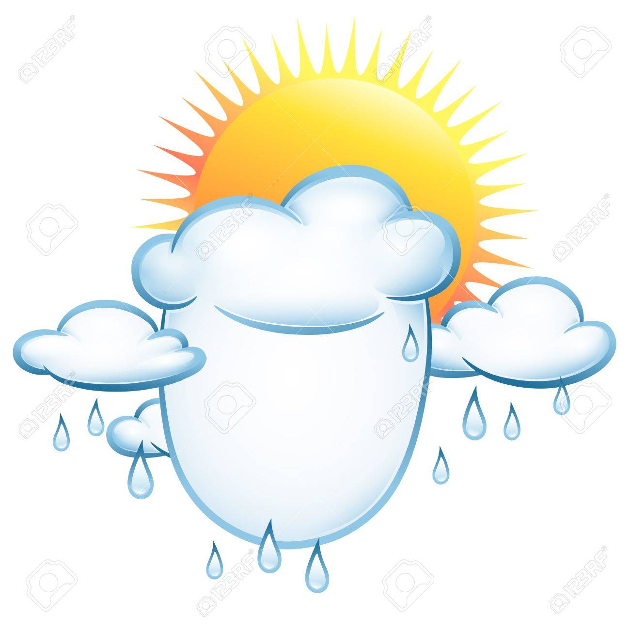 Notes form clouds and rain and sun. Vector illustration on the weather Stock Vector - 12483598