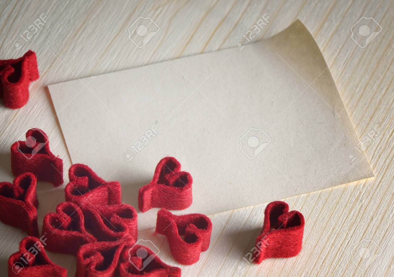Valentines Day background with a note for design Stock Photo - 17046000