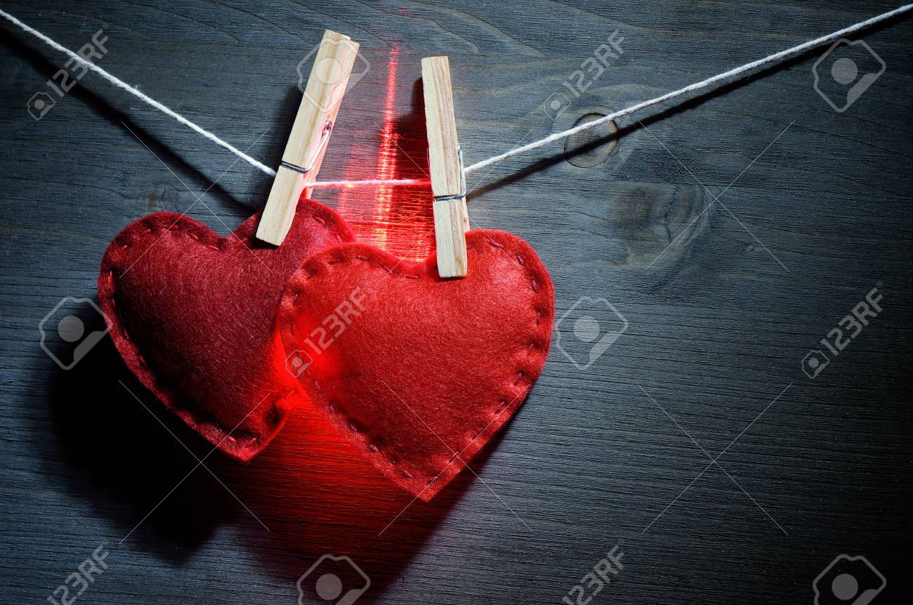 Two glowing red heart  Decor for Valentine Stock Photo - 17046026
