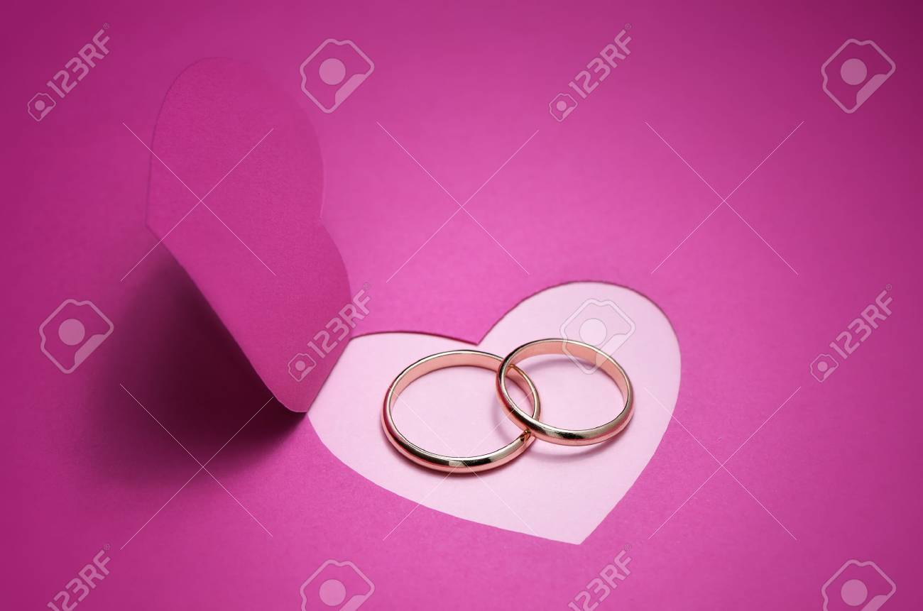 Wedding Background For Design With Gold Rings Stock Photo, Picture ...