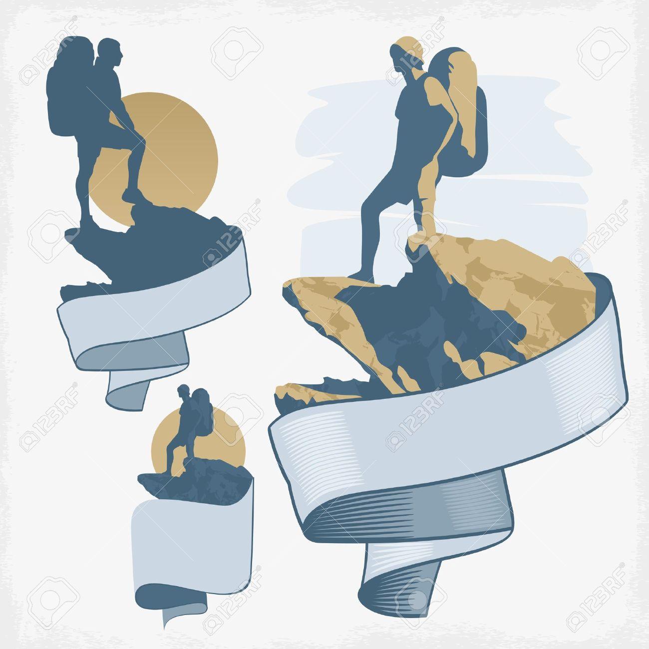 Tourisme avec sac à dos debout sur un dessin vectoriel sommet de la montagne Banque d'images - 18282877
