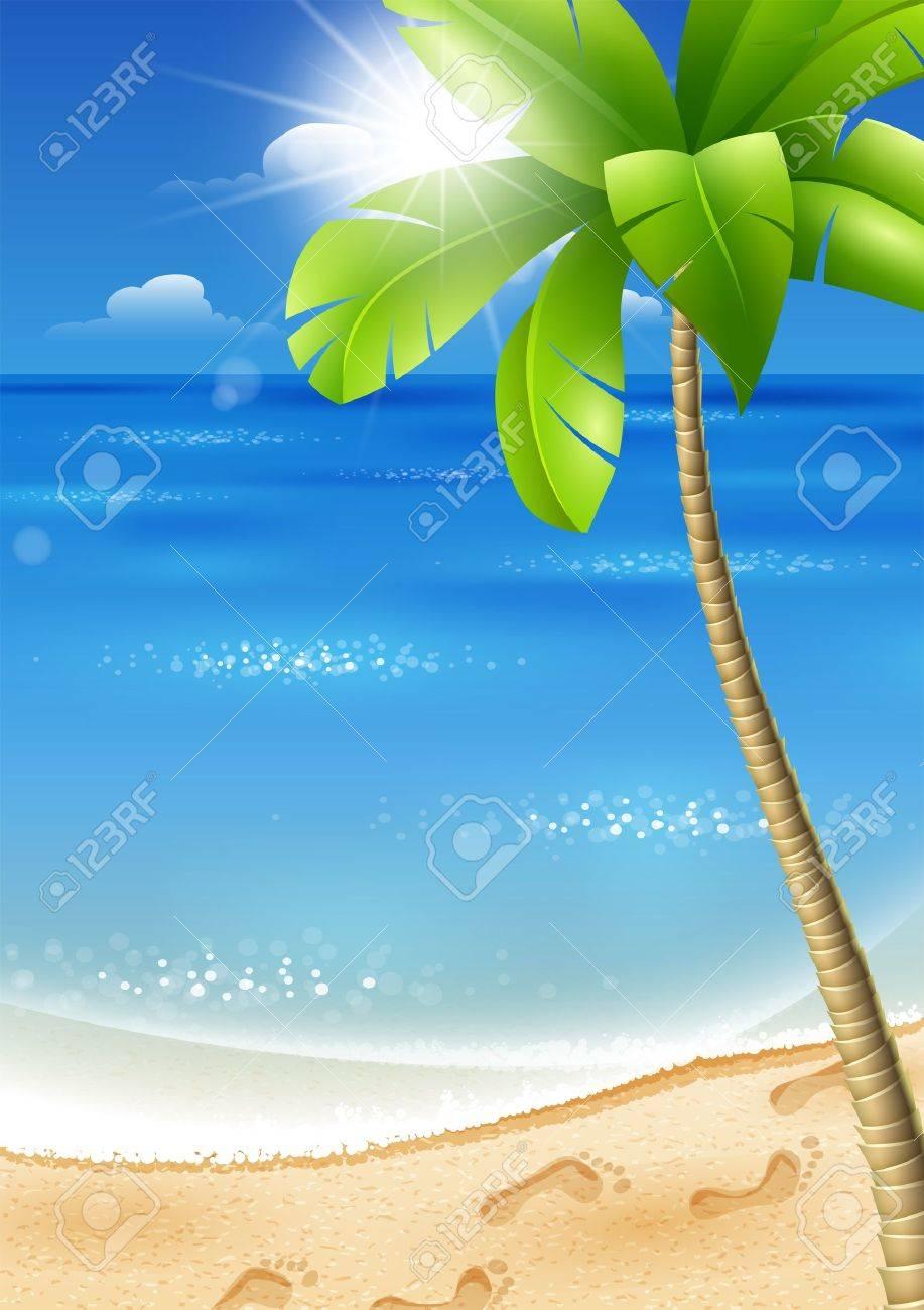 Illustration d'une plage tropicale avec palmiers et le soleil Banque d'images - 18546738