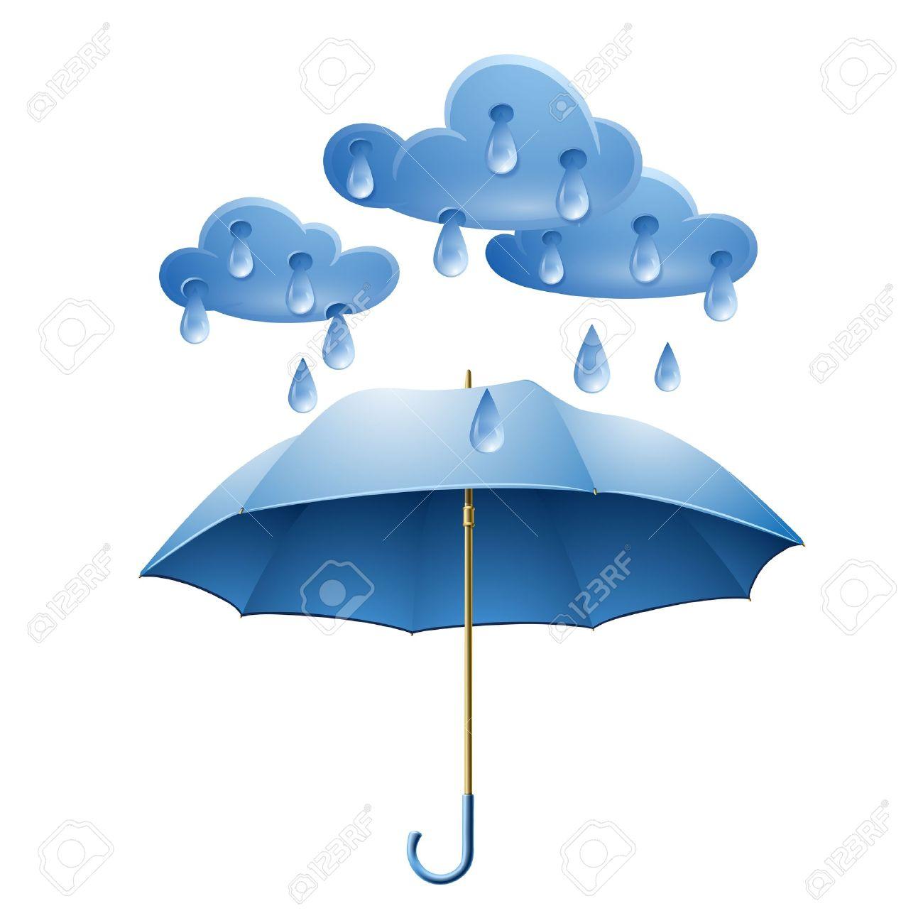 Nuage avec des gouttes de pluie et parapluie bleu isolé sur fond blanc Banque d'images - 18839153