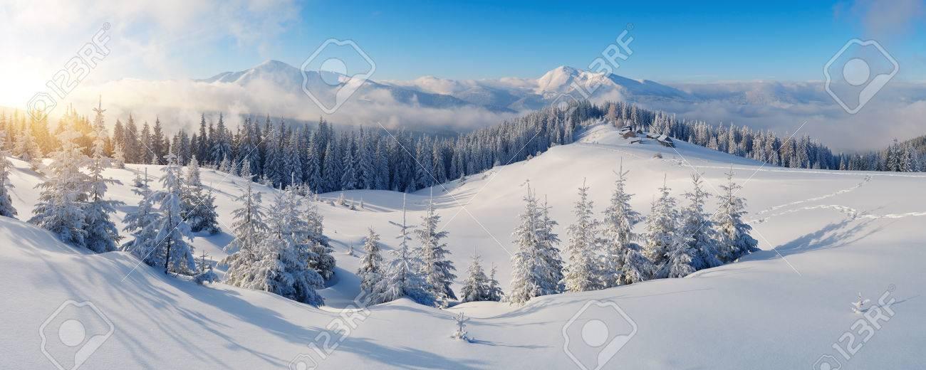 Winter panorama de montagnes sur un jour ensoleillé Carpates, Ukraine Banque d'images - 24362633
