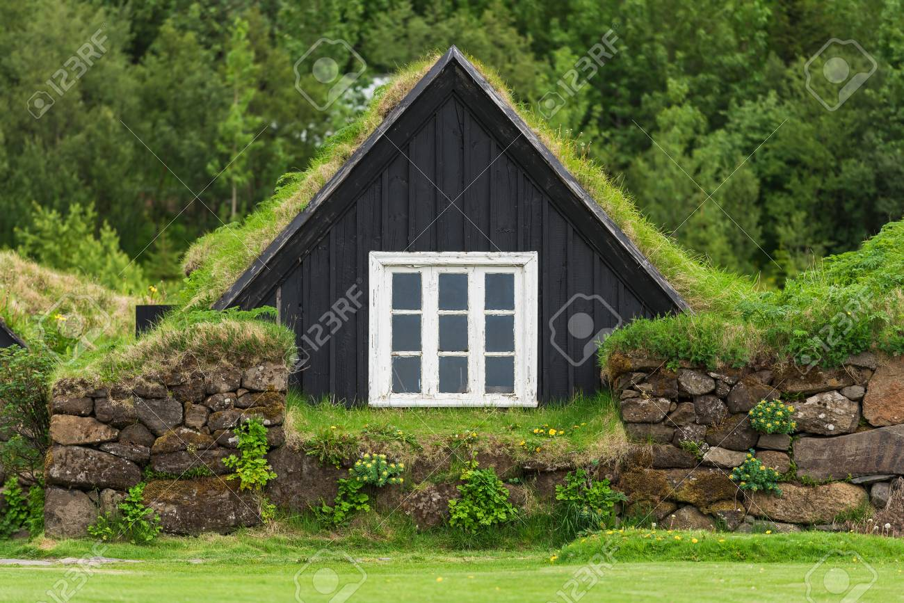 Icelandic turf house with gr on the roof. Traditional home.. on iceland homes, icelandic style homes, icelandic turf houses,