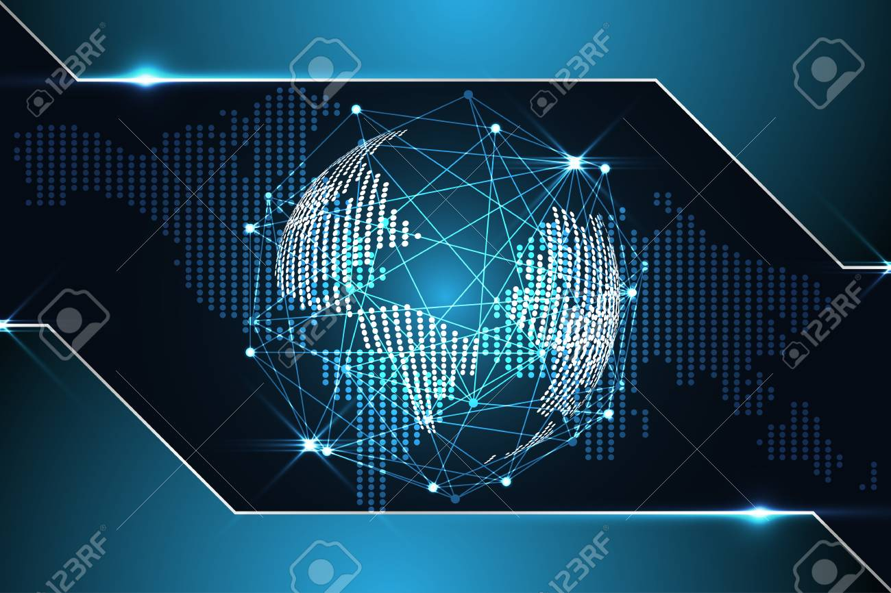 Abstract Technology Background Concept Digital World Map Dot