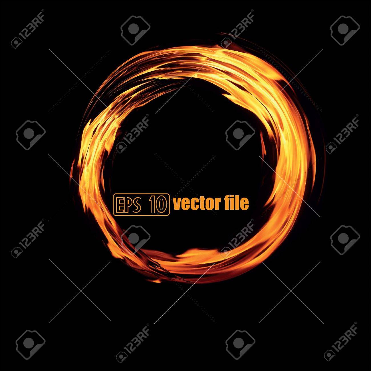 Abstract fiery circle on a black background Stock Vector - 14006205