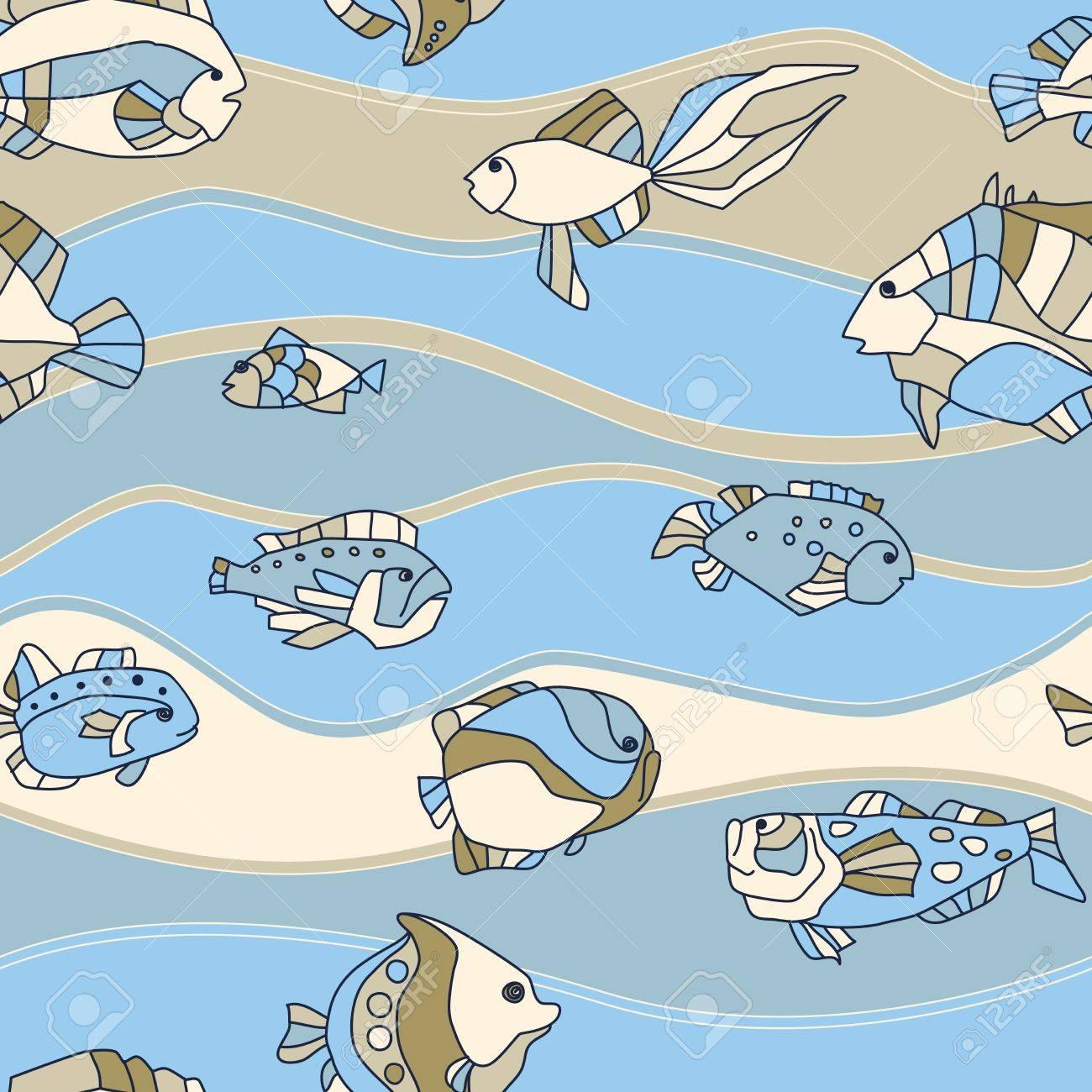 seamless pattern aquarium fish background Stock Vector - 14675987