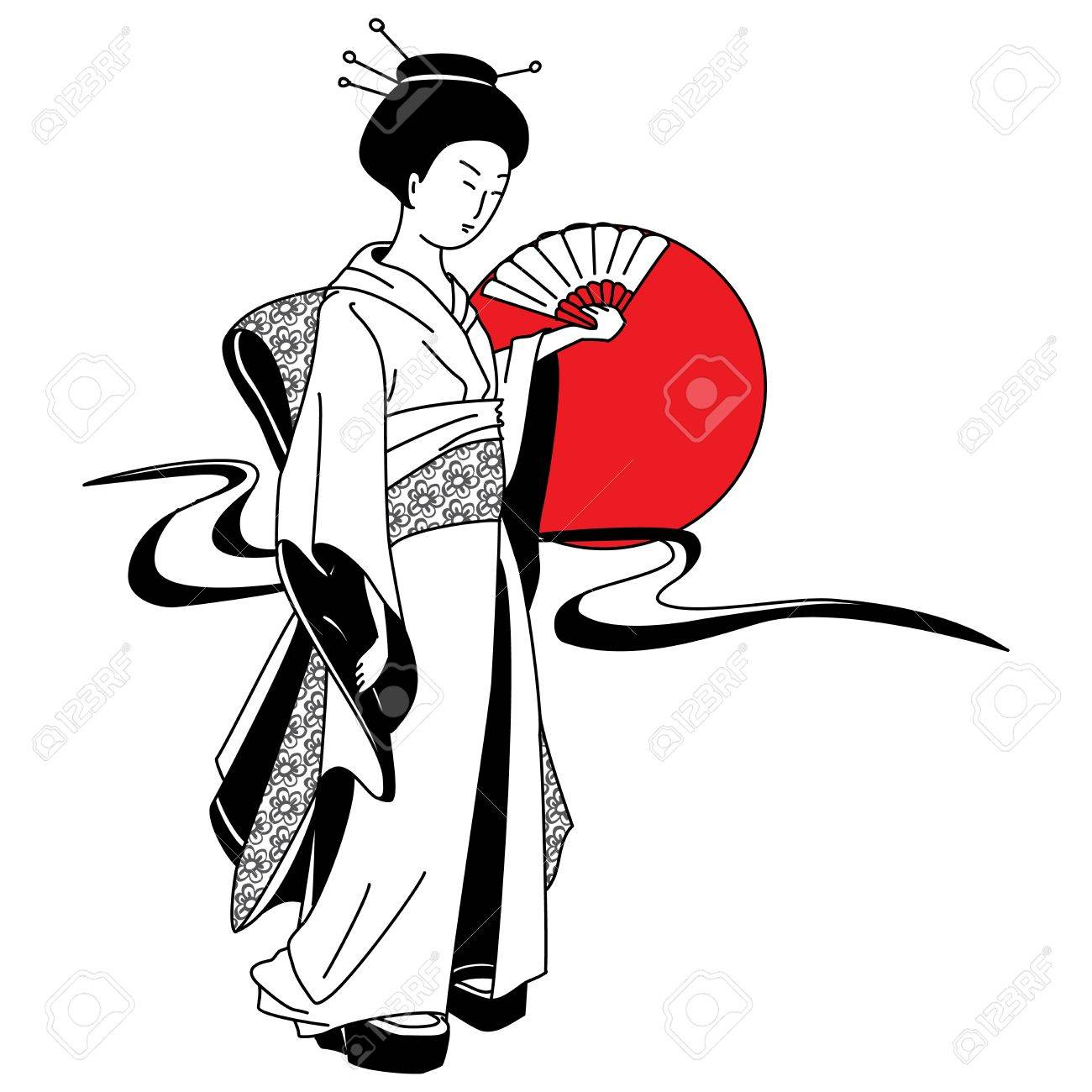 Japanese geisha girl on the background of the red sun Stock Vector - 14774162