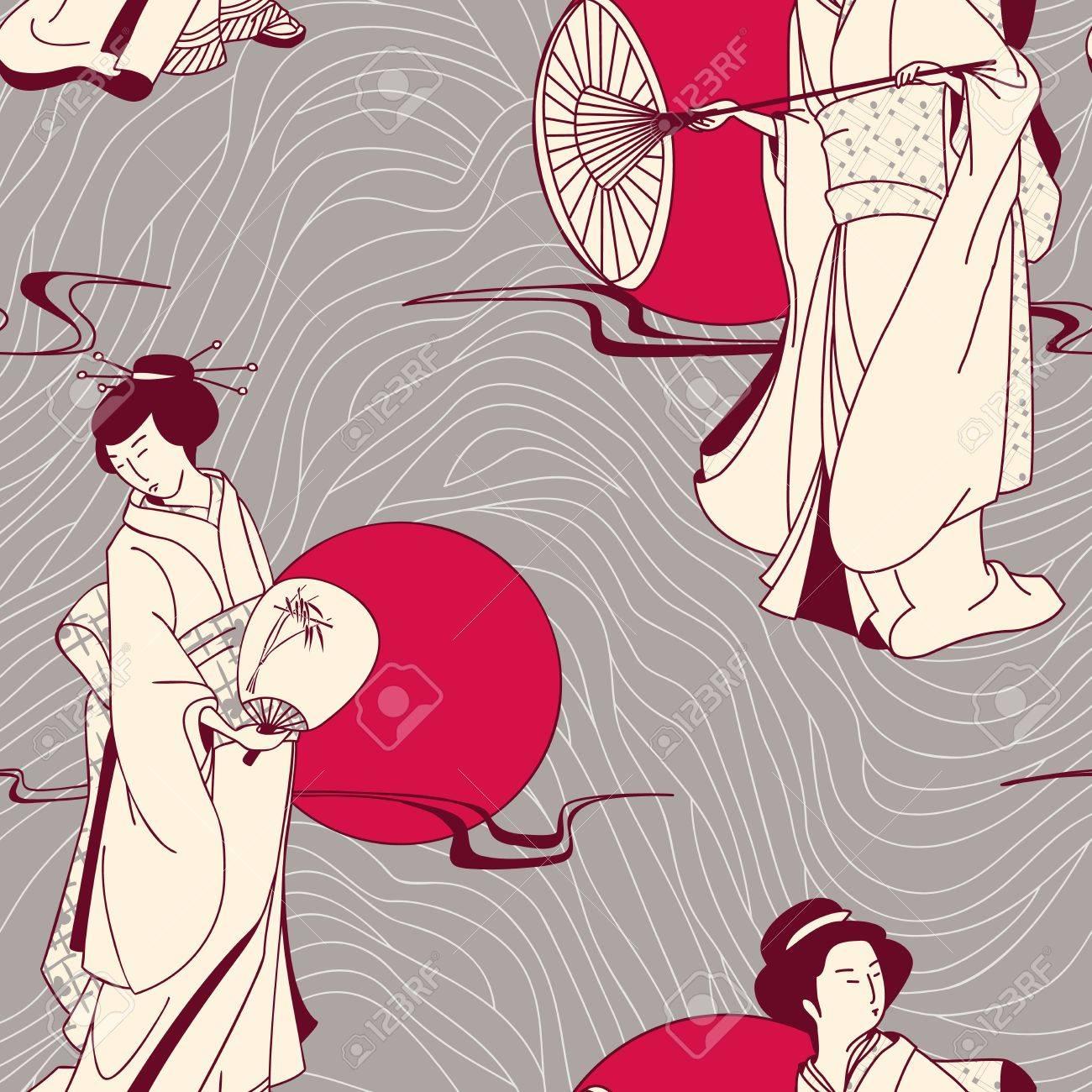 Japanese geisha seamless pattern Stock Vector - 15183653