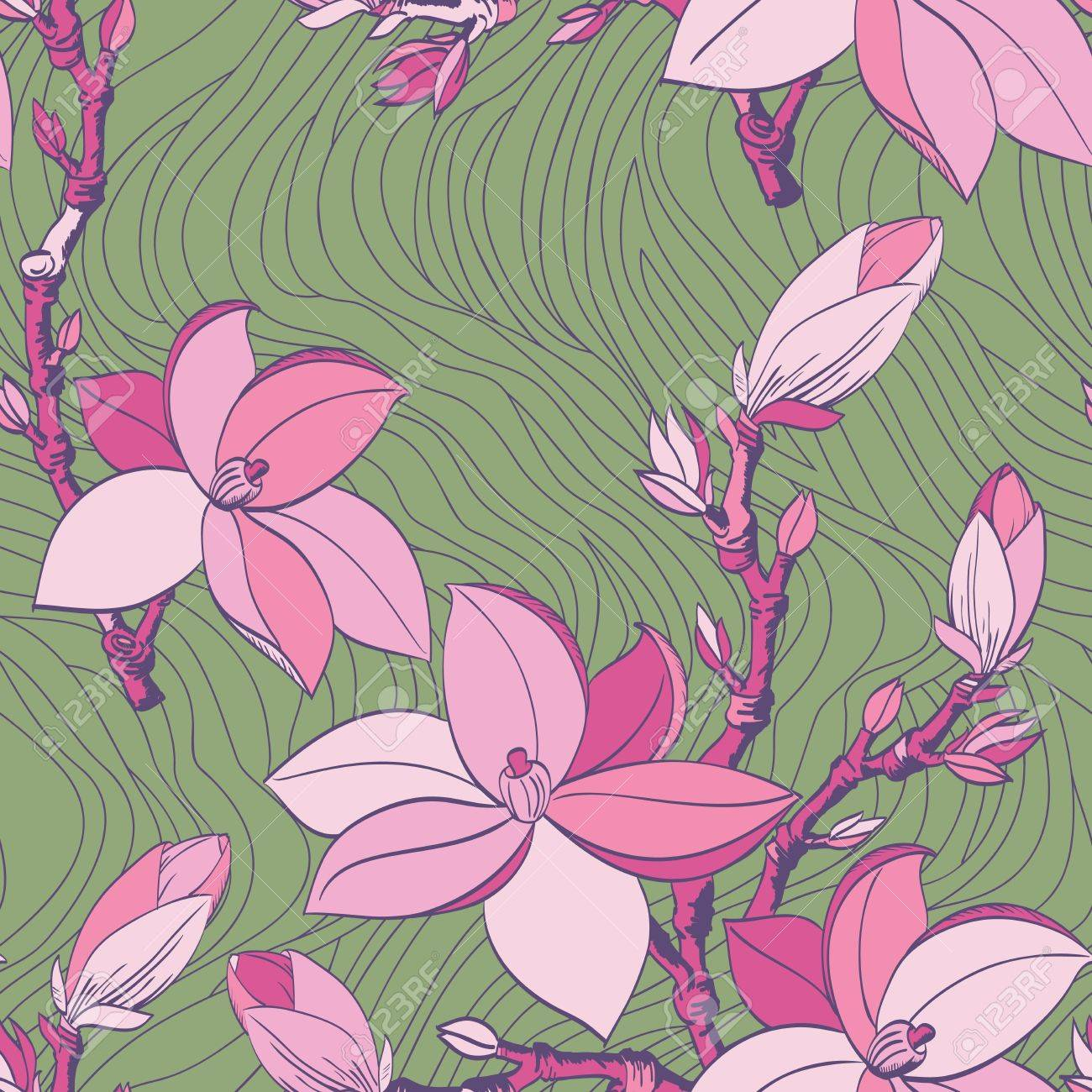 Floral seamless pattern with drawing magnolia flowers Stock Vector - 17058274