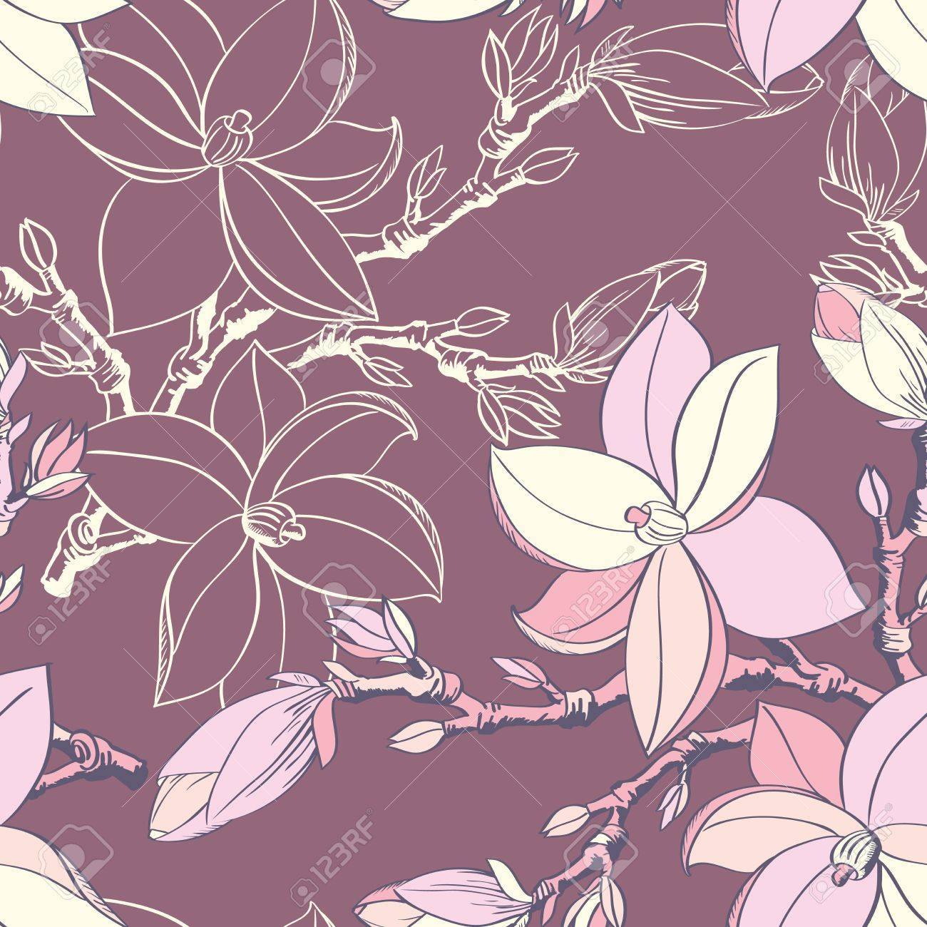 Beautiful seamless vintage wallpaper with magnolia flower Stock Vector - 17058267