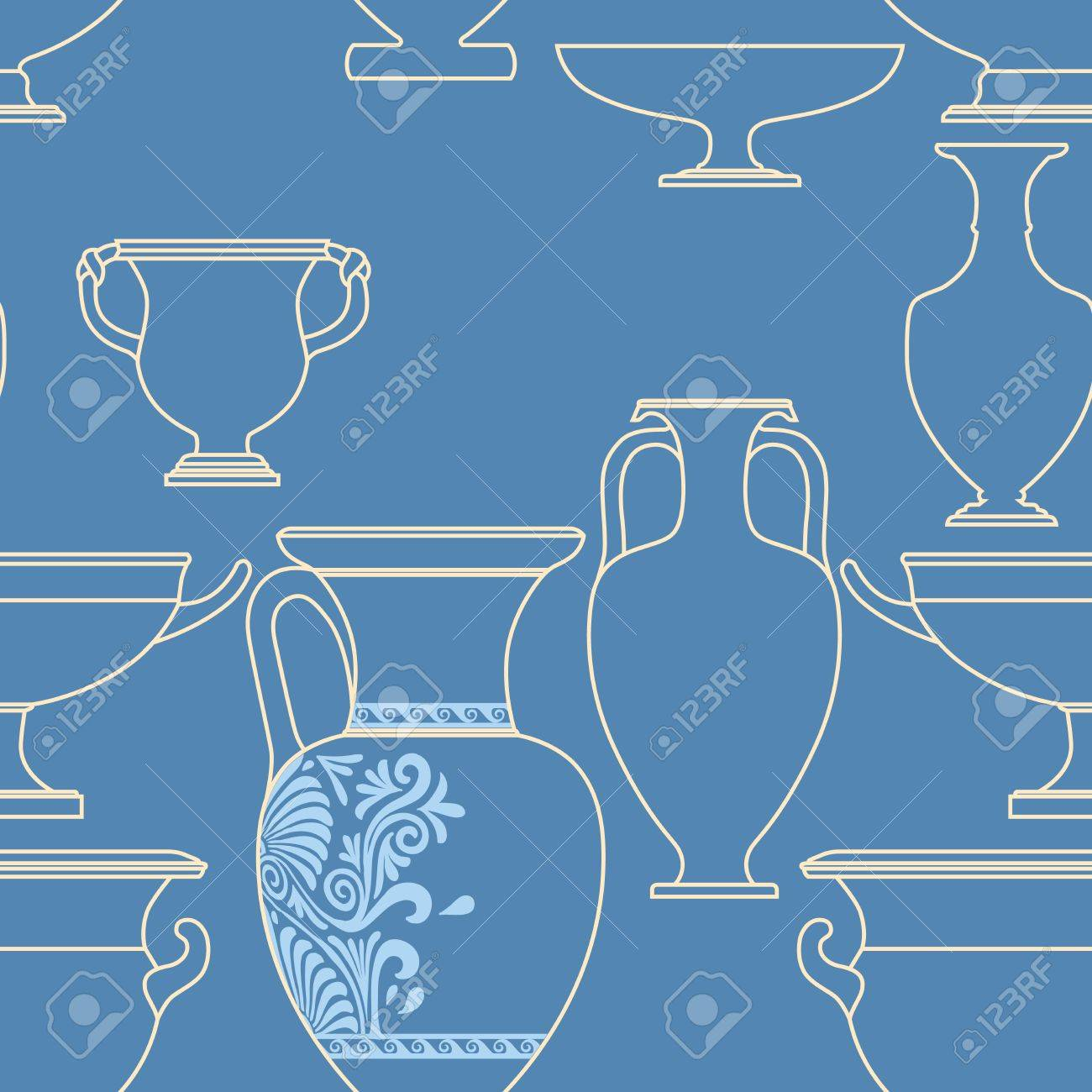 Ceramic seamless pattern. Ethnic national Greek style background Stock Vector - 17097006