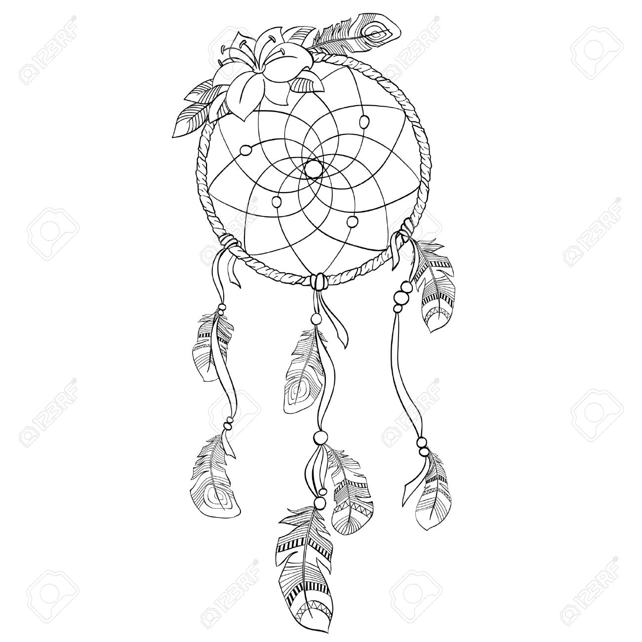 dreamcatcher vector illustration royalty free cliparts vectors and rh 123rf com dream catcher vector art free dream catcher victor idaho