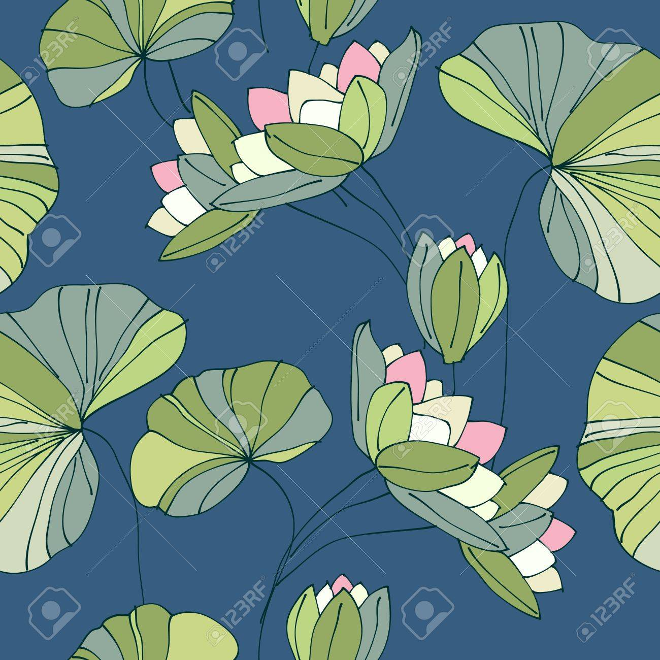 waterlily seamless flower tropical pattern Stock Vector - 17772508
