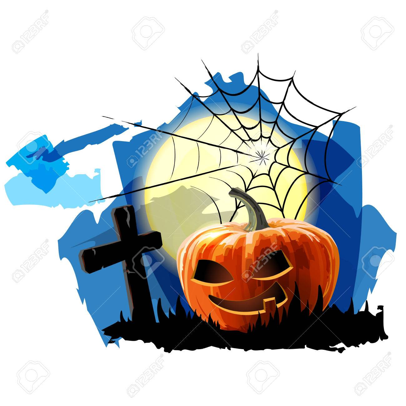 Halloween Party Background with Pumpkin Stock Vector - 23119718