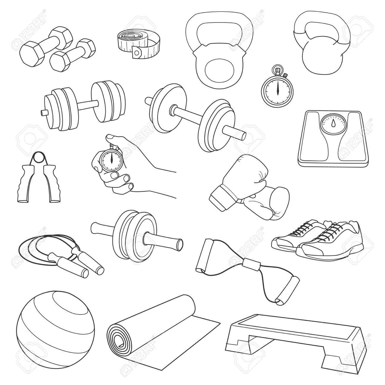 Hand gezeichnet Set von Fitness Zubehör.