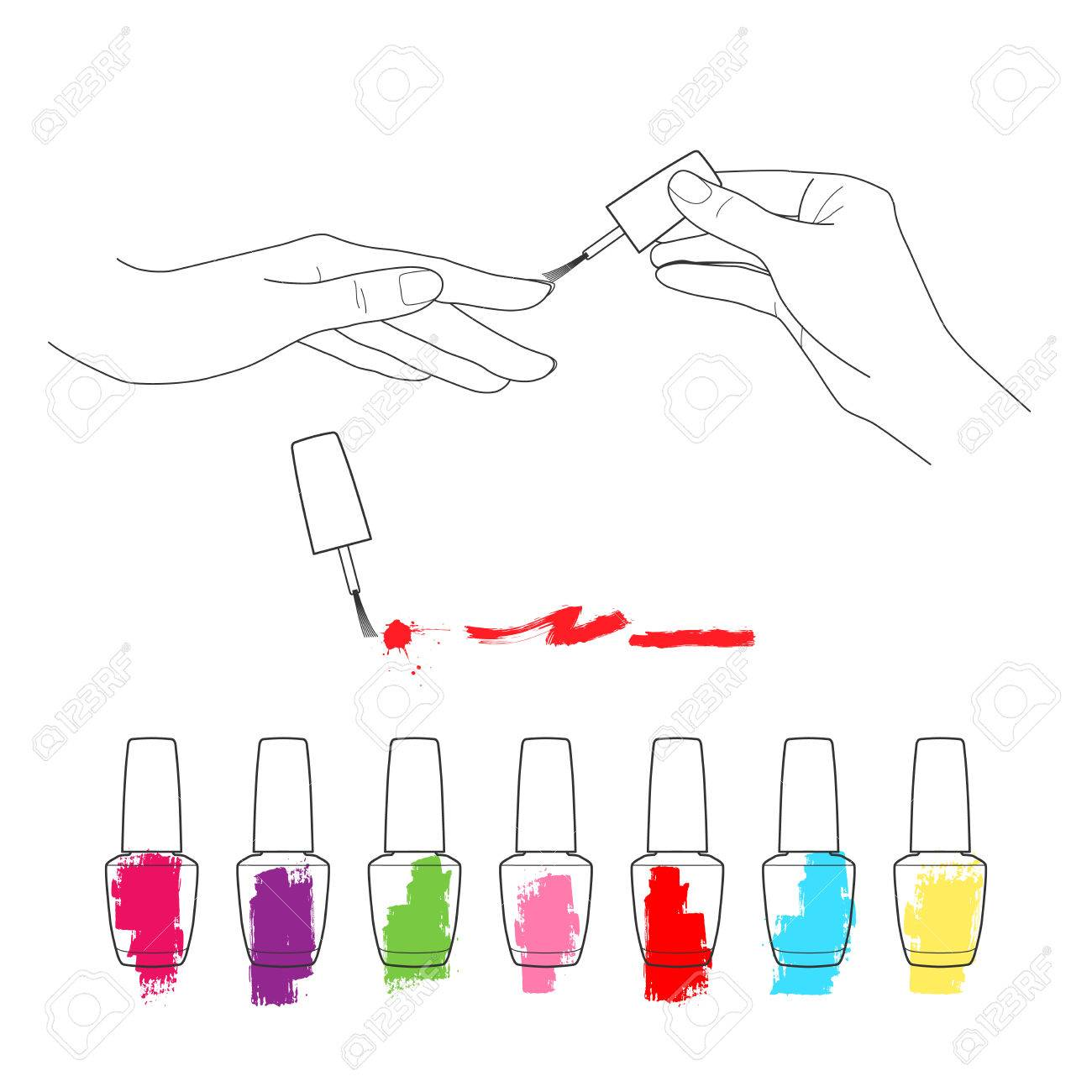 Manicure womens hands the palette of nail polish vector set manicure womens hands the palette of nail polish vector set stock vector 37663074 pooptronica Choice Image
