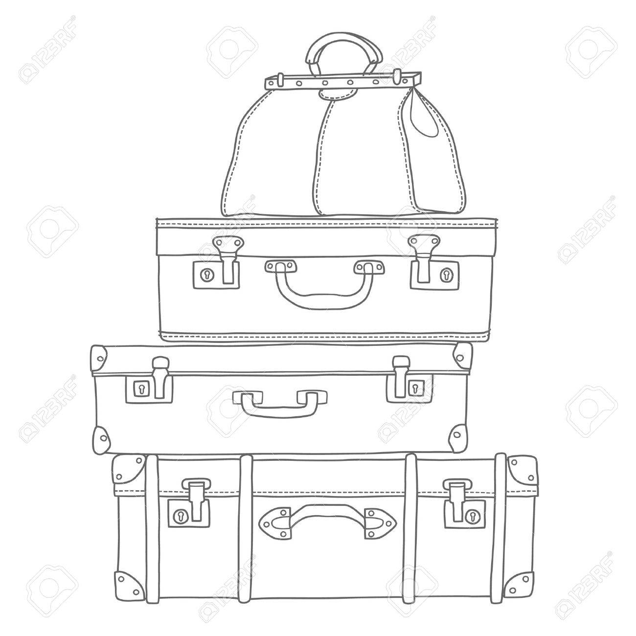 Sketch of the suitcases on white background, isolated vector - 39300484