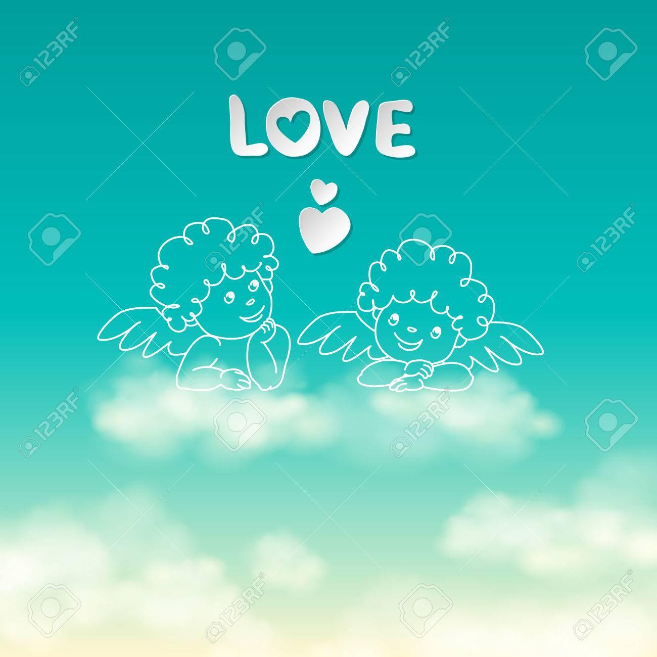 Dos ángeles En Una Nube De La Palabra Amor Y El Corazón En El Cielo
